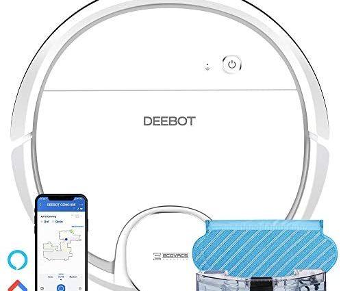 ECOVACS DEEBOT OZMO905, Aspirateur robot, Navigation Laser, Robot Aspirateur Laveur 2-en-1, Boost auto, Barrières Virtuelles, Mode Personnalisé, Connecté Appli et Alexa, Idéal tous sols (Blanc) - Home Robots