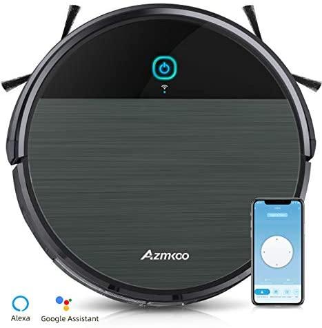 AZMKOO Aspirateur Robot, Aspirateur Robot Laveur 2200Pa Navigation Intelligente Aspirateur Charge Automatique, Aspirateur Robot Poil Animaux pour Sols Durs, Tapis, with Wi-FI & App & Alexa - Home Robots